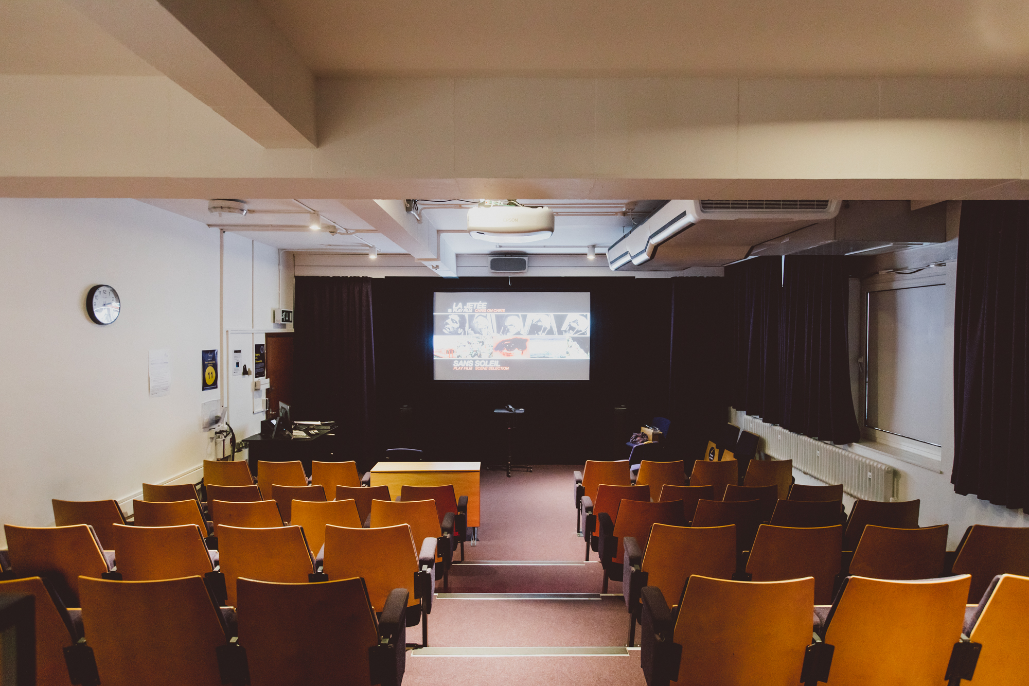 Seats and screen in screening room