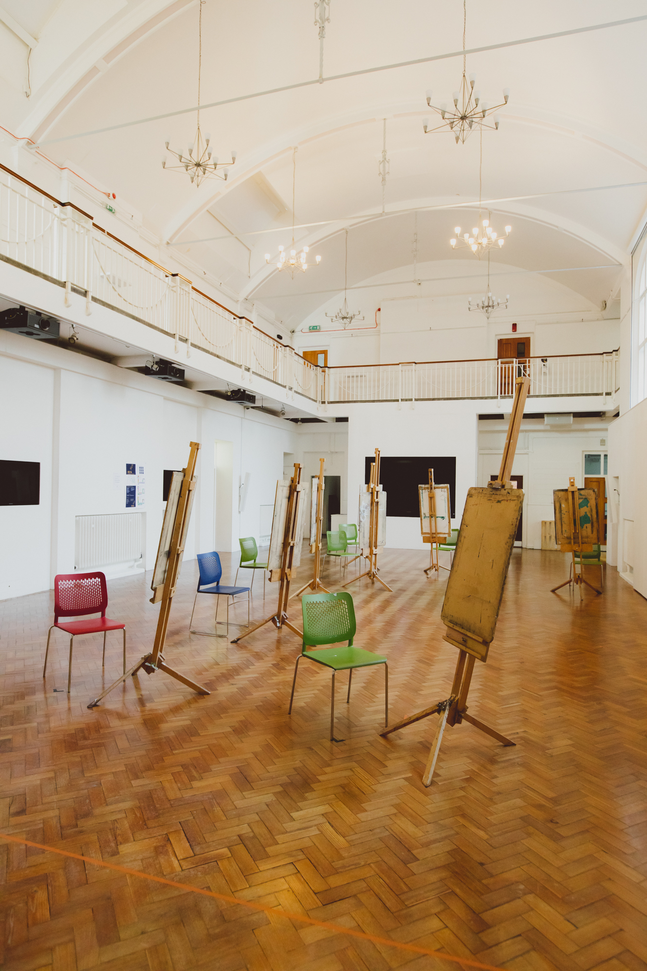 Easels and chairs in Ruskin Gallery