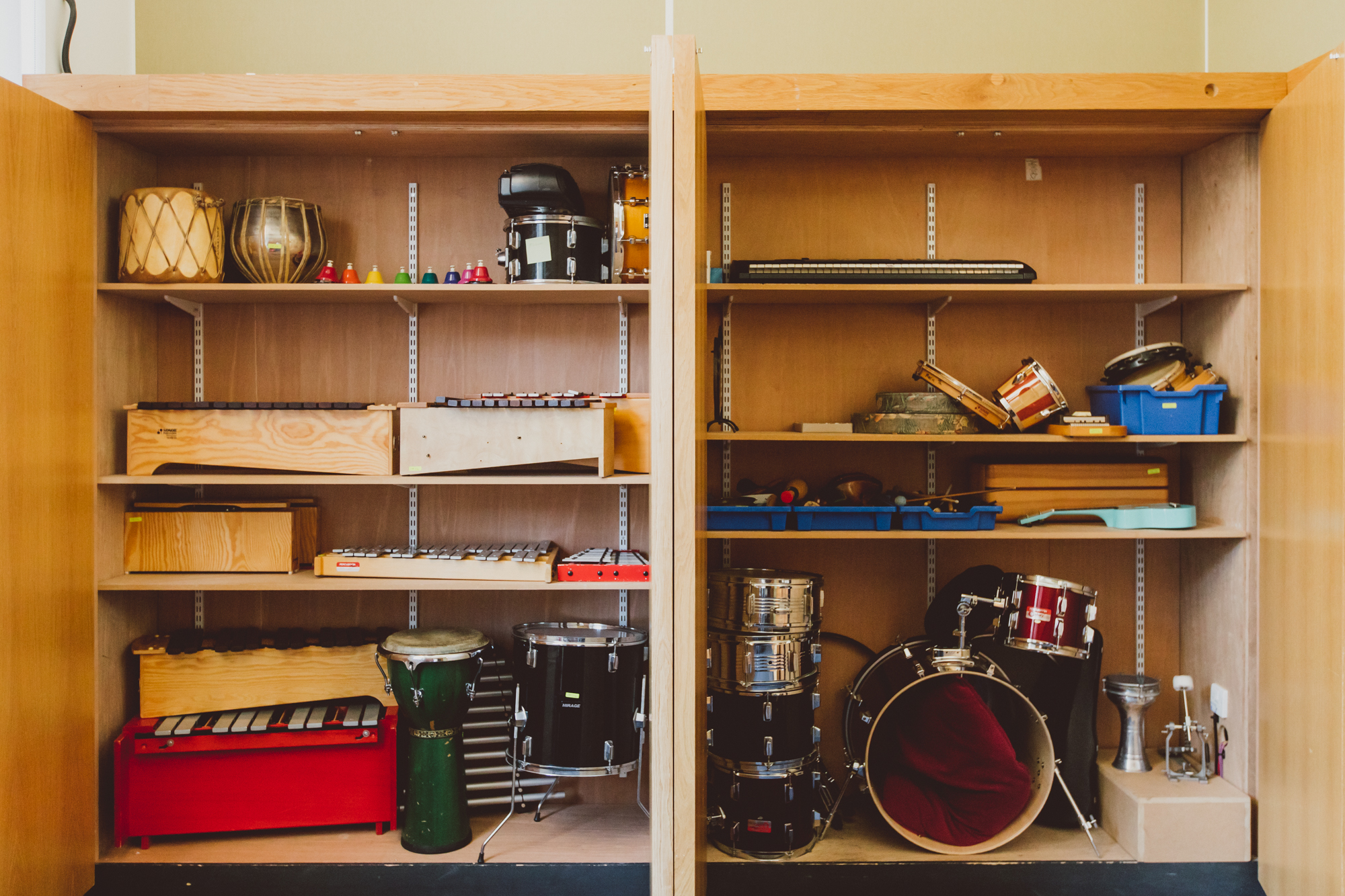 Percussion instruments in cupboard