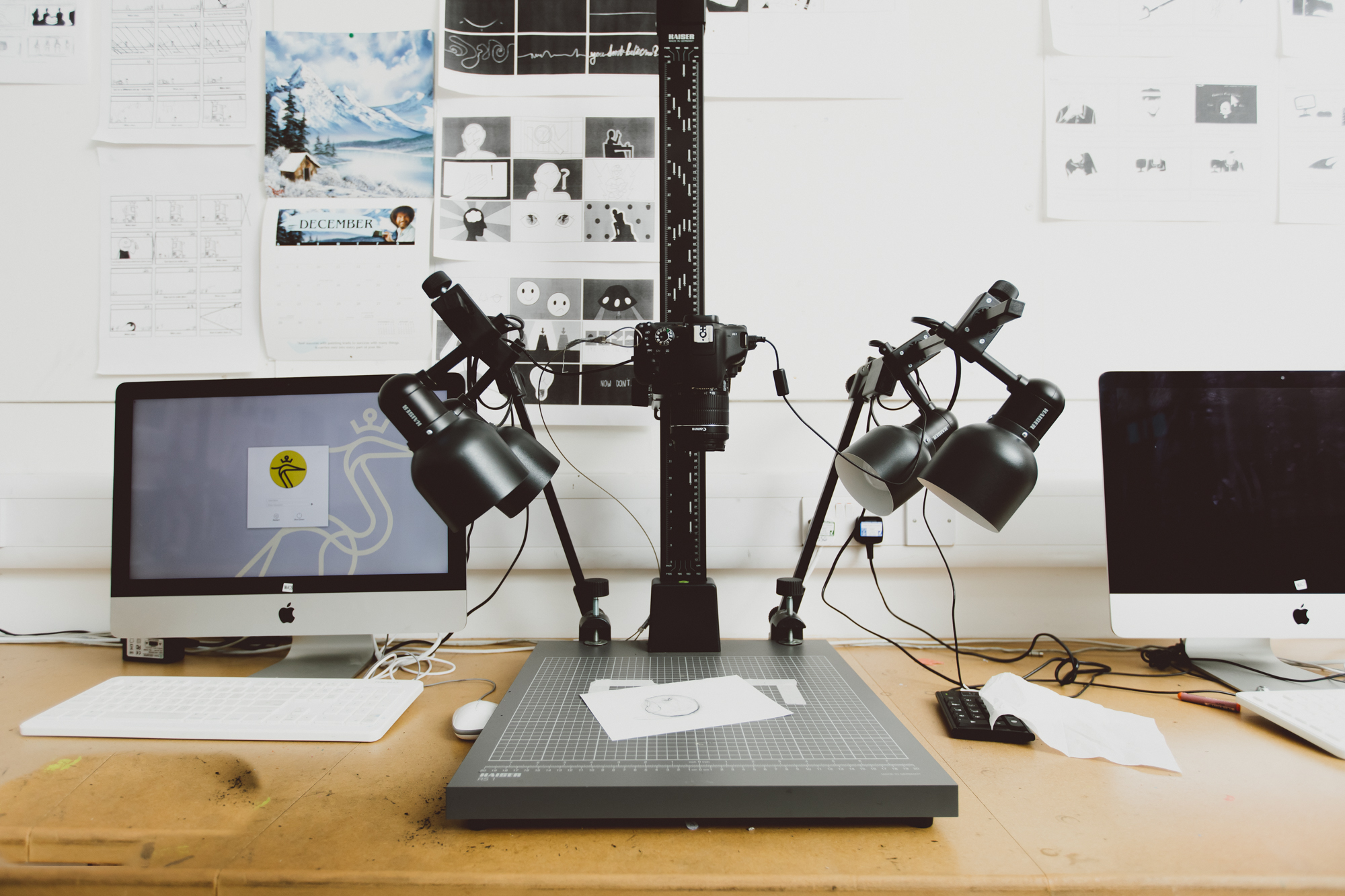 A rostrum and workstation in the Illustration and Animation Studio
