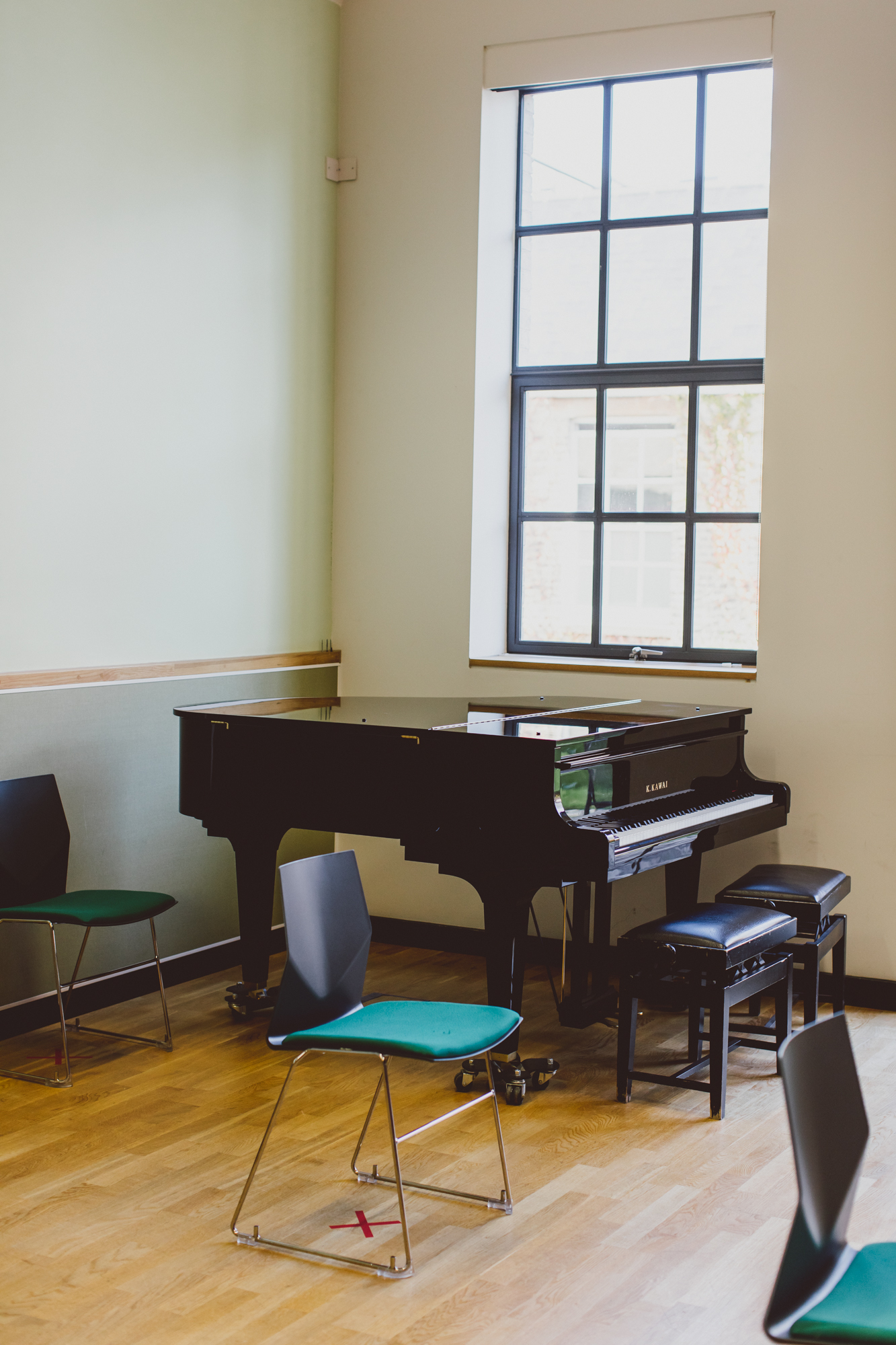 Baby grand piano in Jerome Booth Music Therapy Centre