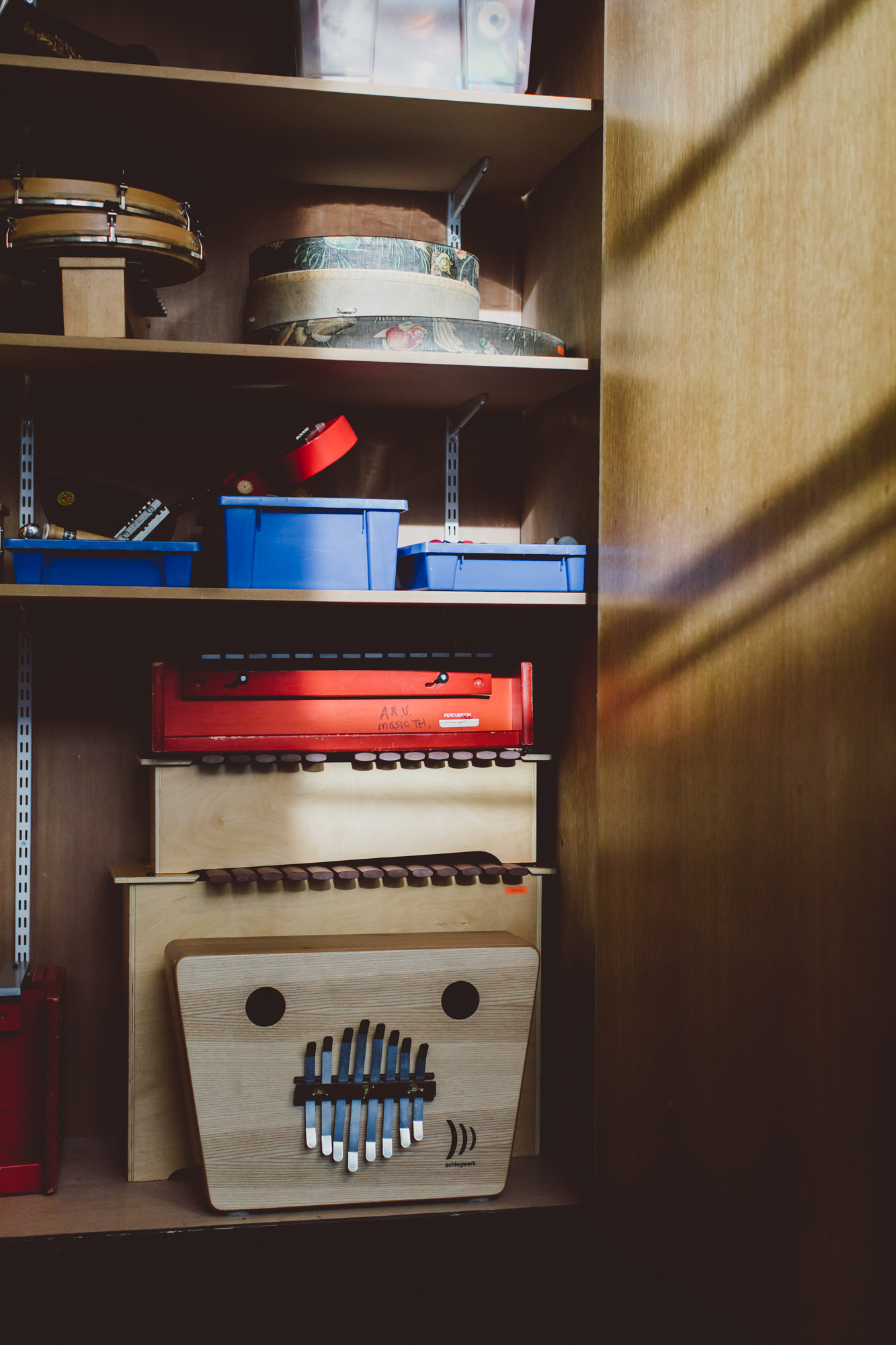 Percussion instruments in store cupboard