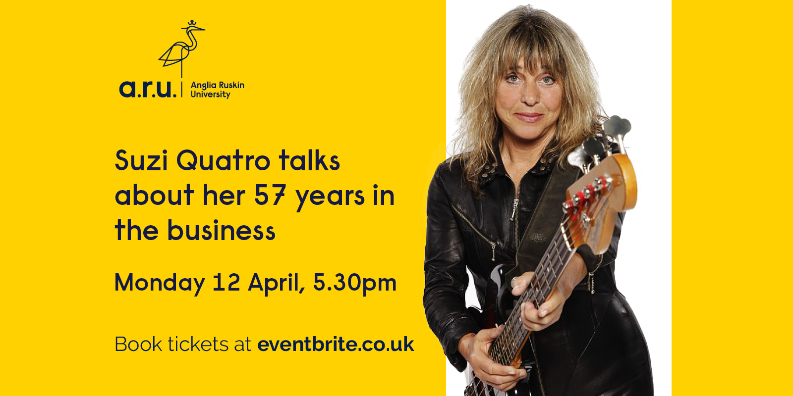 Event artwork featuring a headshot photo of Suzi Quatro.